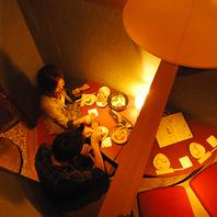 大人気の2名様個室はゆったり掘り炬燵が◎隠れ家的空間