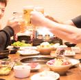焼肉食べ放題コースに、お一人様+1,080円で飲み放題をお付けできます。【ビール】【サワー】【梅酒・果実酒】【ハイボール】【焼酎・日本酒】【カクテル】【ソフトドリンク】など、お客様の利用シーン・ご予算に合わせてご予約くださいませ。