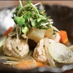 高知産 鶏つみれと旬野菜のバター醤油煮つけ スープ仕立てで