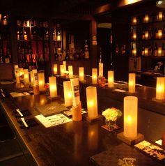 蝋燭の照明の中、ゆっくりと焼酎とお食事にをお楽しみください!