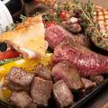 料理メニュー写真鉄板肉盛3種盛り合わせ50g