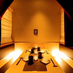掘りごたつの個室のお席となります。デート、会食、接待等でのご利用に最適です。
