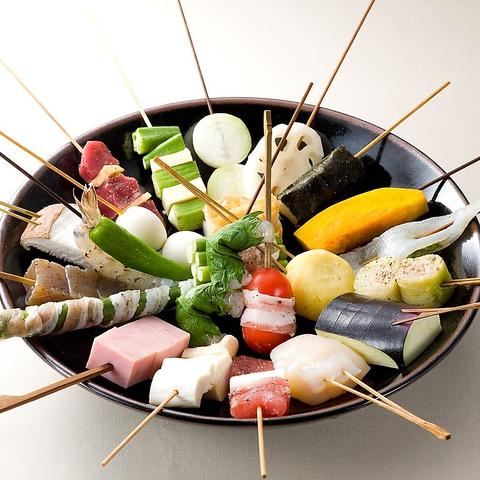 【2時間飲み放題付】酒菜コース4000円 串揚げ6本、お造り2種、小鉢、ローストビーフサラダ付