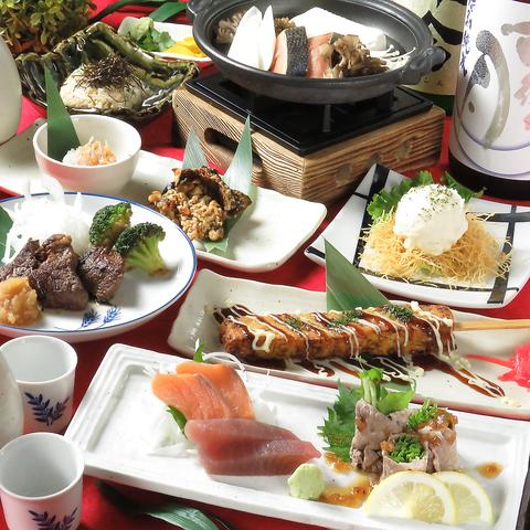 ≪個別盛りプラン≫2H飲放付+旬魚盛合せ&サイコロステーキ&お好み焼き串など 全9品⇒3500円