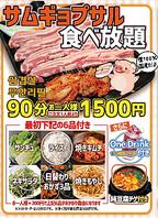 【ランチ限定】人気のサムギョプサル食べ放題90分1500円