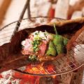 料理メニュー写真黒毛和牛ロースの朴葉味噌焼き