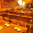 2Fのお座敷小上がりをご宴会で使用すると、最大40名の宴会迄対応可能なお座敷個室に!