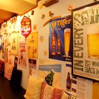 壁には各国ビールのラベルやポスターが可愛い♪