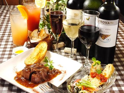 ワインビュッフェ、海外のビールが人気◇手作り料理が豊富な74cafeへ♪