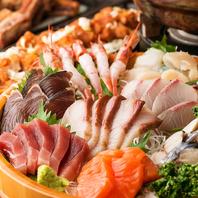 獲れたて旬の鮮魚をたっぷり使用した盛り合わせも◎