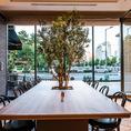 12名様までご利用頂ける長テーブル席もご用意。テーブル中央にはオリーブの木が植えられており、心安らぐ席。