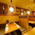 4名様までOKの掘りごたつ席は3テーブル。気の合う仲間とのお食事などに最適です。