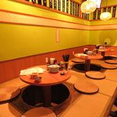丸いテーブルが話に花咲かせる♪○テーブルの掘りごたつ席は3卓、□テーブルの掘りごたつ席を1卓ご用意しております。