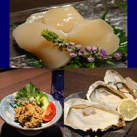 帆立刺し・生牡蠣・かにみそ等海の幸豊富にございます!
