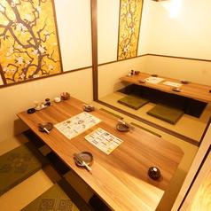 【テーブルをぐるっと囲んだ掘りごたつ個室】和の雰囲気漂うおしゃれな空間で会話も弾みます。完全個室なのでお子様連れのお客様にも安心してご利用いただけます。