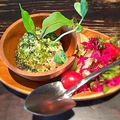 料理メニュー写真ポテトサラダ 植木鉢仕立て