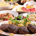 吊るし熟成短角牛100%のハンバーグステーキは、お店で塊肉から極あらびきで挽いています!だから肉々しくて、まるでステーキのよう。そのほかのお料理も当店の人気メニューをギュッと詰め込みました♪