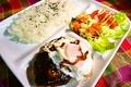 料理メニュー写真デミタマハンバーグライス・チーズハンバーグライス