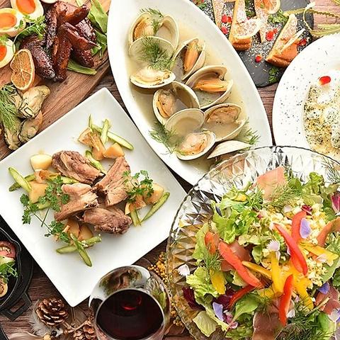 【コスパ抜群!!】パープルカフェこだわりのお料理7種と自慢のカクテル2.5h飲み放題付きコース