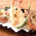 料理メニュー写真車海老と季節野菜の天布羅 盛り合わせ