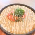 料理メニュー写真フワフワ山芋とろろの鉄板焼明太のせ