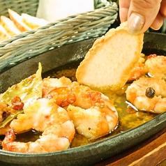 料理メニュー写真海老のガーリックオイル煮(スライスパン付き)