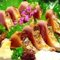 料理メニュー写真土佐鰹のわら焼きポン酢(4切れ)