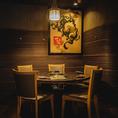 4名様~6名様までのテーブル個室。丸テーブルタイプの人気のお席。接待や会食にもご利用いただけます。