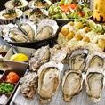 2時間生牡蠣付き食べ放題コースやってます!生牡蠣、焼き牡蠣、蒸し牡蠣、サラダ、カキフライ、牡蠣飯などをお腹いっぱいどうぞ♪