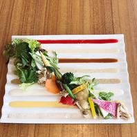 オススメ♪8種ソースの産直野菜プレート!