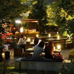 梅田の街中なのに、まるで森の中で飲んでいるような自然にあふれたお席