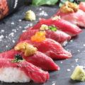 料理メニュー写真サロマ牛 肉寿司盛り合わせ