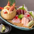 日本酒のお供に新鮮な魚介類などご用意致しております。