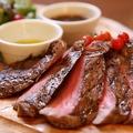 料理メニュー写真和牛モモステーキ 150g ~赤ワインソース~