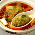 料理メニュー写真悪魔の鍋B カキと揚げ豆腐ネギ・漬け唐辛子入り 海鮮四川スープ(イカ・エビ・ホタテ)