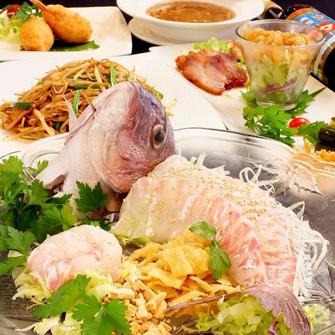 ◆1.5時間飲み放題付】『鯛の刺身と蟹フカヒレスープ付お任せフルコース6,000円税込』[全9品]