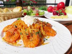 ソフトシェルシュリンプのトマトクリームスパゲッティ