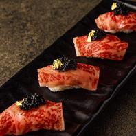 金粉やキャビアも楽しめる炙り和牛寿司に舌鼓♪