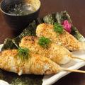 料理メニュー写真食べ方いろいろ♪【焼きおにぎり串 スープ付き】
