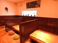 【掘りごたつ席☆4名様掛け×3卓】森をテーマにした緑・茶・白を基調とした店内にある掘りごたつ席でゆっくりお寛ぎ頂けます◎仕切りを取れば最大14名様にてご利用頂けますので大人数も◎