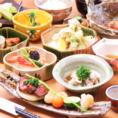 季節の食材をたっぷり使用した人気のコース。時期によって、内容が変わりますのでお気軽にお問合せ下さい!