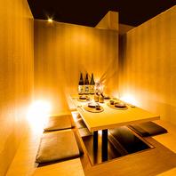 完全個室は接待にも最適な落ち着く雰囲気となっています
