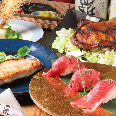 『桶盛り』×『肉寿司』のWメイン!贅沢豪華全11品120分飲み放題付5500円(税込)