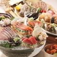 新鮮な魚介類を使った新鮮なお刺身も大人気!!産地直送の新鮮でみずみずしいお刺身にぴったりのお酒も取り揃えております♪