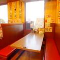 6名様テーブル席×7 各テーブルごとに仕切りがあって安心です。※小さいお子様にはテーブルに引っ掛けるタイプの椅子やお子様用座布団などもご用意しております。(数に限りがあります)