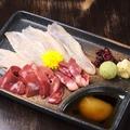 料理メニュー写真地鶏3種造り盛り合わせ