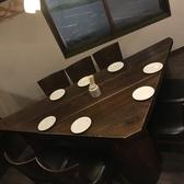 三角テーブルの個室皆さんの顔が見える作りになってます