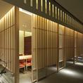 【4~6名様用個室】間接照明が作り出す和の大人空間。会食や法事、御家族とのお集まりにも是非ご利用下さい。