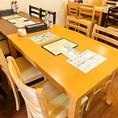 2名様からご利用可能なテーブル席。※感染症拡大対策の為お席の間隔を空けておりますのでご了承下さい