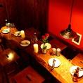 【フロア貸切】一号店で大人気のロフト席や木を基調とした温かみ感じる2Fのこちらのフロア♪畳のお座敷席やちゃぶ台の個室、テーブル個室など和で統一された空間は時間を忘れるくらい居心地のよさ◎オレンジ色に光る照明は和の雰囲気をよりいっそう引き立てます。